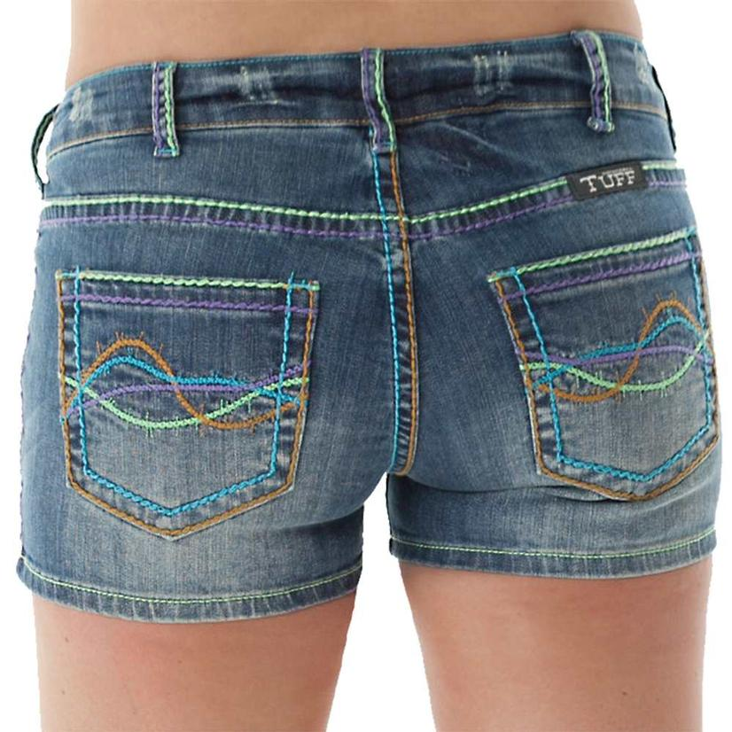 Cowgirl Tuff Womens Happy Days Colorful Denim Shorts