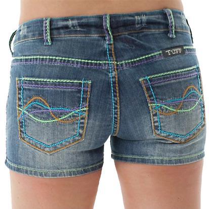 Cowgirl Tuff Womens Happy Days Colorful Denim Shorts