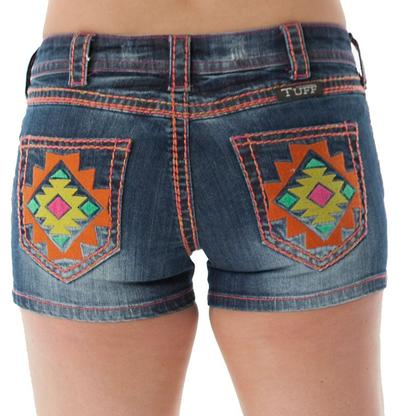 Cowgirl Tuff Womens Southwest Vibe Bright Colors Shorts