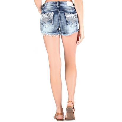 Grace In LA Womens Lacy Denim Shorts