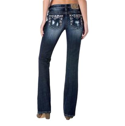 Miss Me Women's Mid Rise Boot Cut Dark Wash Jeans