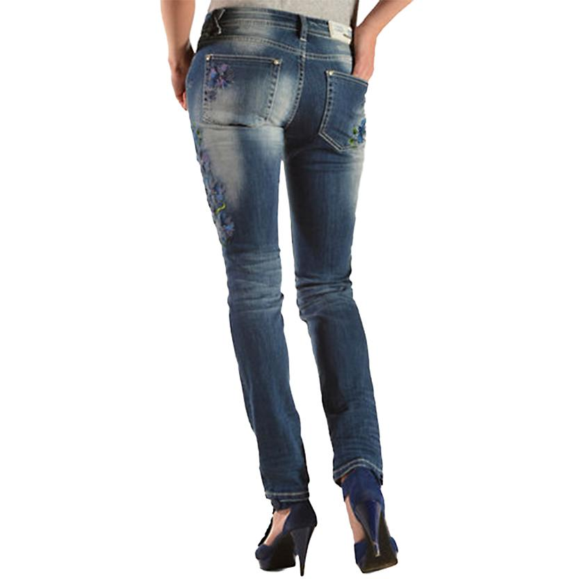 Grace In La Womens Floral Embroidery Skinny Jeans