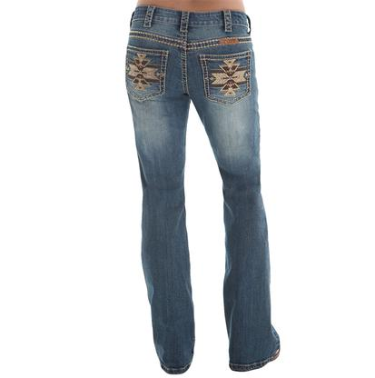 Cowgirl Tuff Women's Golden Aztec Med Wash Jeans