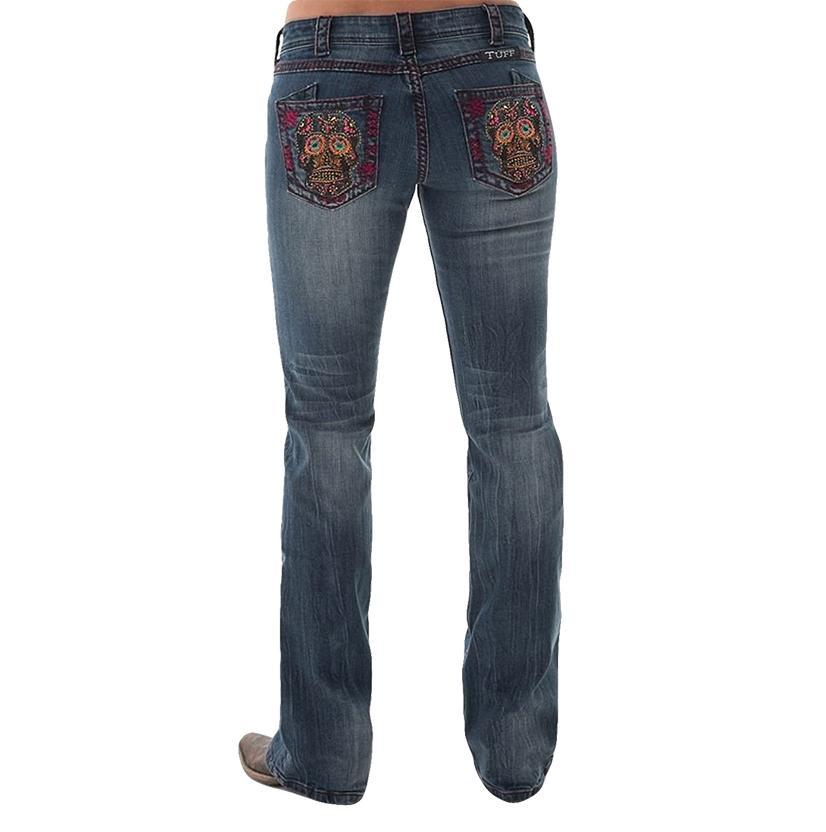 Cowgirl Tuff Womens Western Denim Studded Skulls Jeans