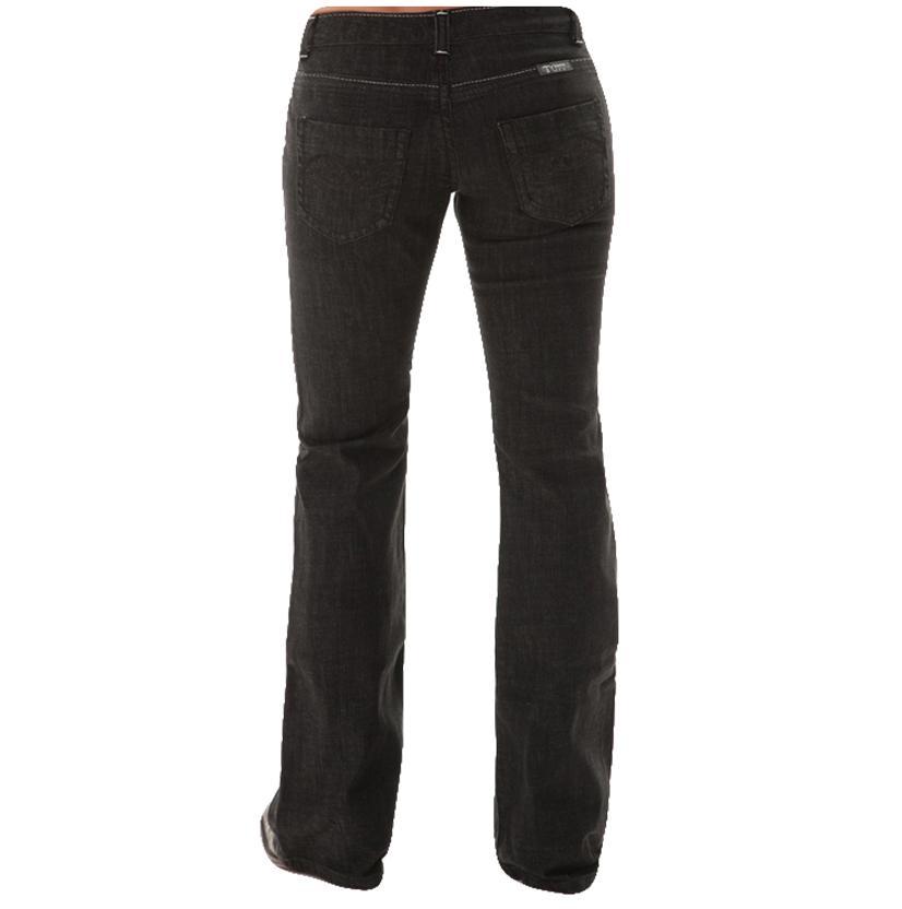 Cowgirl Tuff Womens Western Denim Blackout Barbed Black Jeans