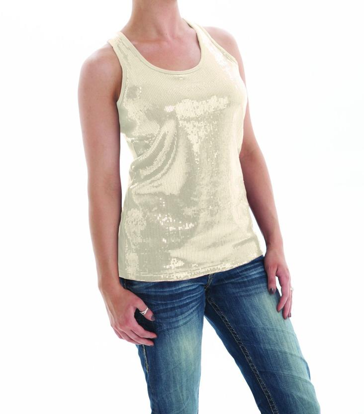 Cowgirl Tuff Womens Cream Sequin Jersey Tank Top