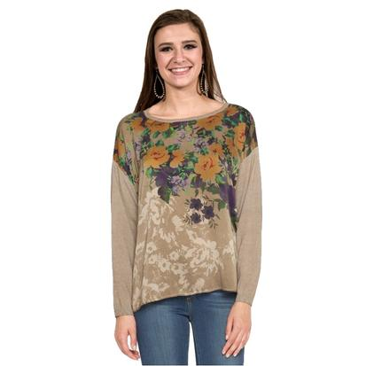 Johnny Was Womens Beige Night Roses Pullover