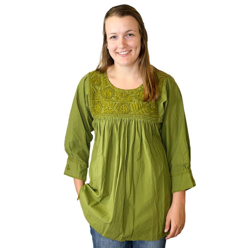 Nativa Womens Green Shawl Olive Blouse