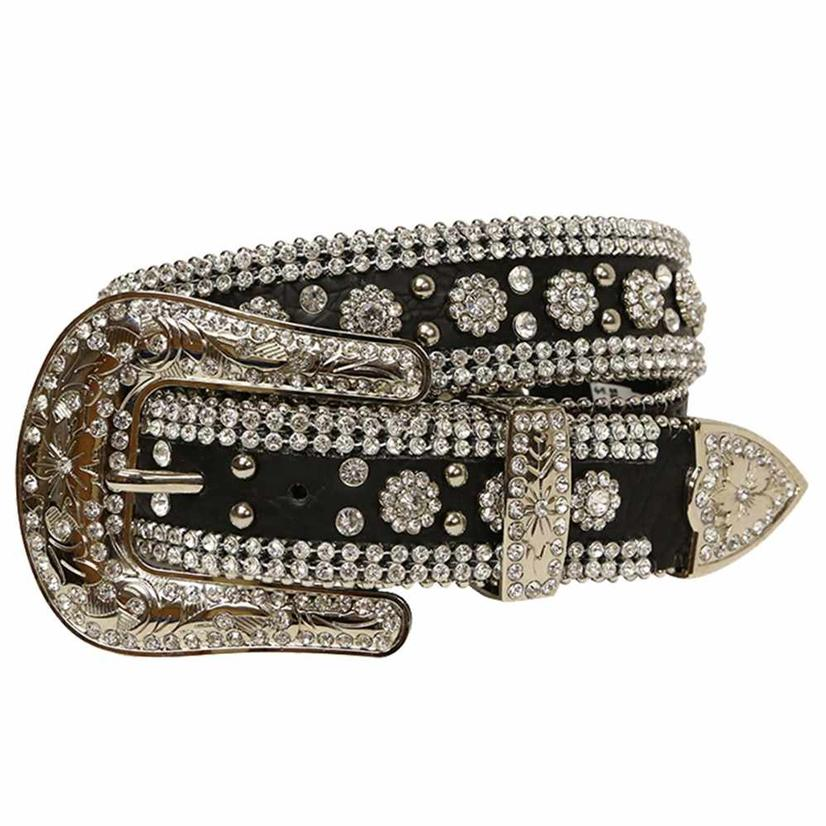 Angel Ranch Womens Black Leather Rhinestone Silver Stud Belt