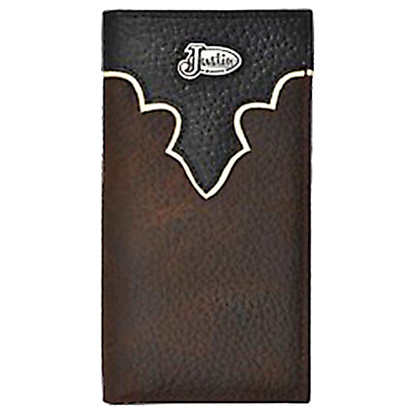 Justin Dark Brown And Black Western Rodeo Wallet