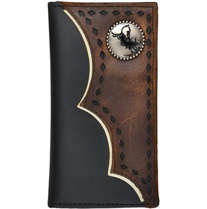 3D Boys' Black and Distressed Brown Leather Rodeo Wallet