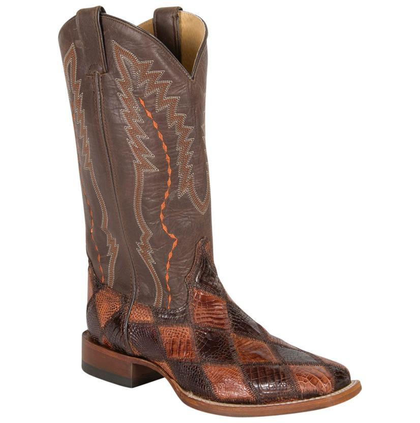 Cinch Chocolate/Cognac Patchwork American Alligator Boots