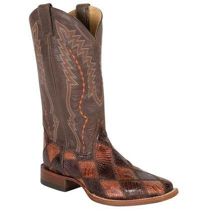 Cinch Mens Chocolate/Cognac Patchwork American Alligator Boots