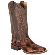 Cinch Chocolate/Cognac Patchwork American Alligator Boots