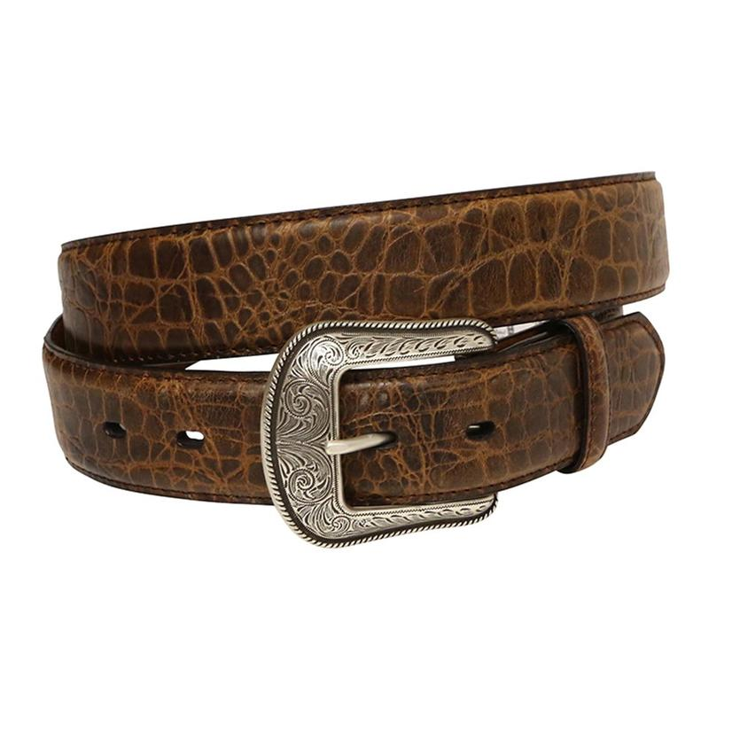 3d 1 1/2in Mens Brown Gatorprint Dress Belt