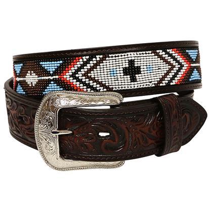 3D 1 1/2in Mens Dark Brown Southwestern Beaded Fashion Belt