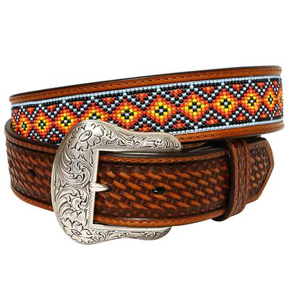 Nocona Mens Tan Embossed with Beaded Inlay Cowboy Belt