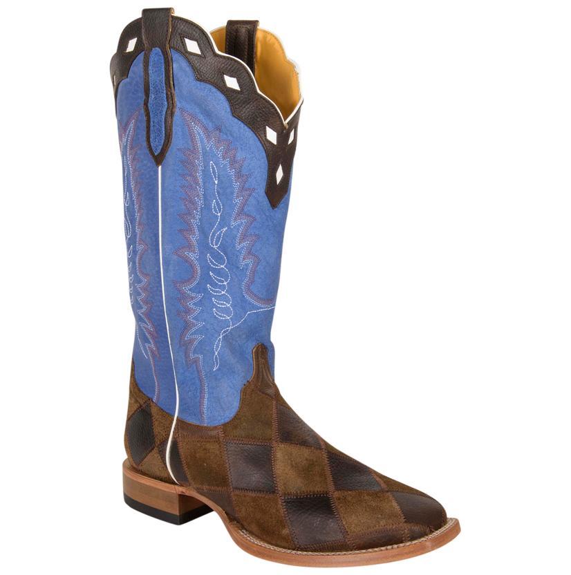 Cinch Patchwork Rustic Royal Blue Square Toe Men's Cowboy Boots