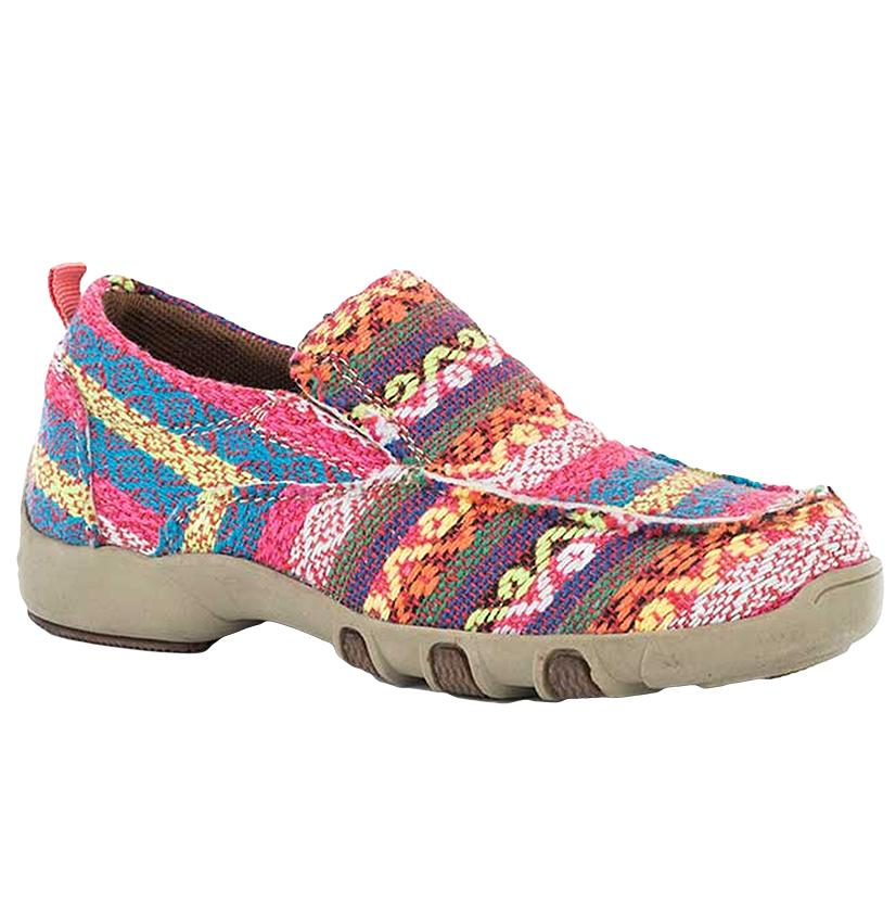 Roper Womens Pink Aztec Fabric Slip On Casual Shoe