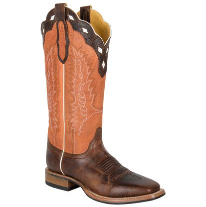 Cinch Mens Orange Stitched Scallop Top and Brown Boots