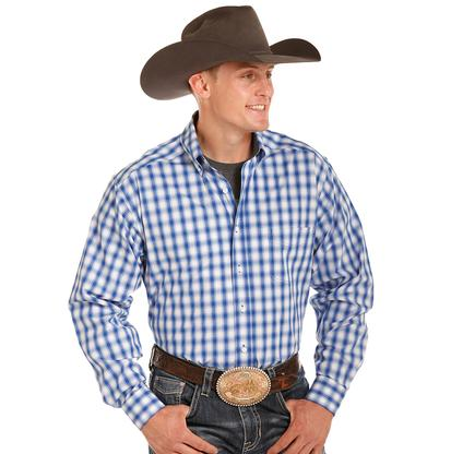 Tuf Cooper Mens Blue and White Plaid Long Sleeve Shirt