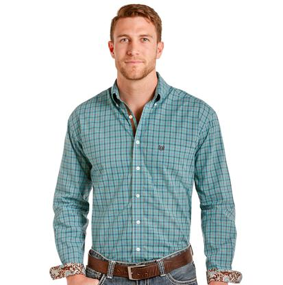 Panhandle Slim Mens Turquoise Brown Plaid Long Sleeve Shirt
