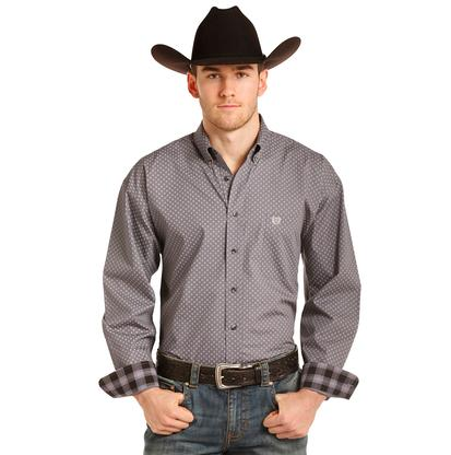 Panhandle Slim Mens Grey Diamond Print Long Sleeve Shirt