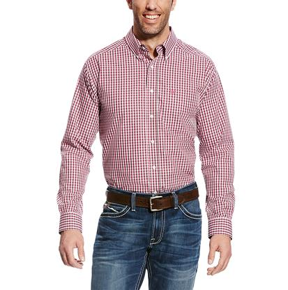 Ariat Mens Gregory Red Plaid Classic Fit Long Sleeve Button Down Shirt