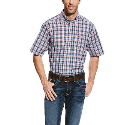 Ariat Mens Gerald Red White Blue Plaid Short Sleeve Shirt