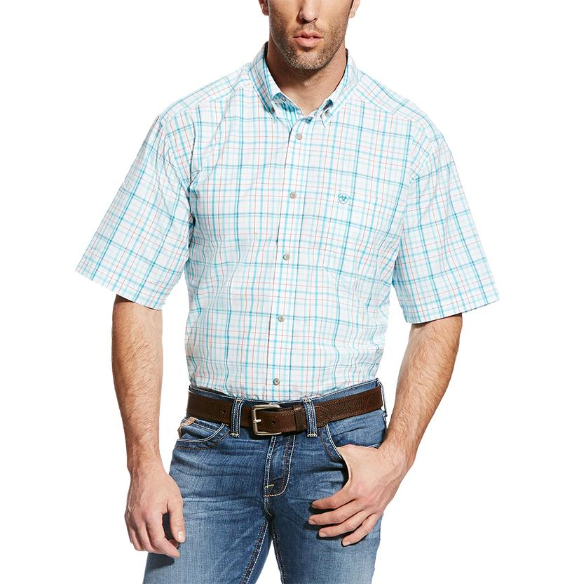 Ariat Mens Griffin White Aqua Plaid Classic Short Sleeve Shirt