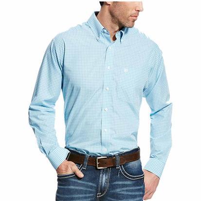 Ariat Mens Kendall Light Blue Plaid Classic Long Sleeve Button Down Shirt