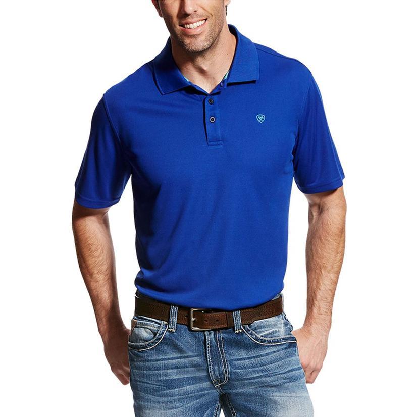 Ariat Mens Tek Short Sleeve Men's Sapphire Blue Polo Shirt