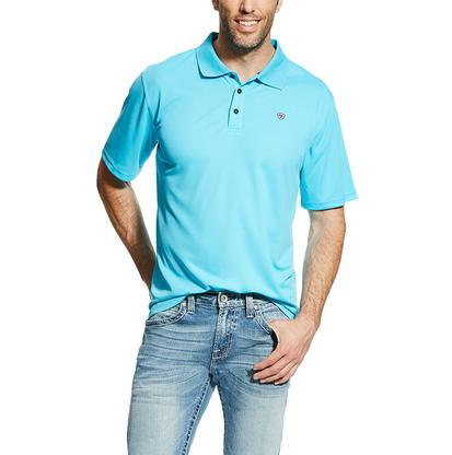 Ariat Mens Tek Short Sleeve Polo In Blue Atoll