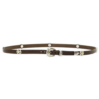 3D Brown Leather Silver Lonestar Western Hatband