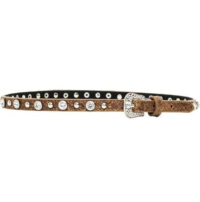 3D Brown Leather and Crystal Fashion Hatband