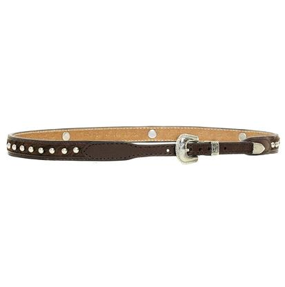 3D Brown Hair on Hide Silver Studded Western Hatband