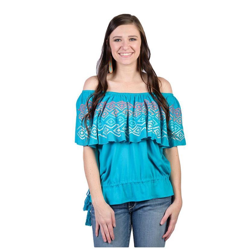 Ariat Womens Carolina Enamel Blue Top