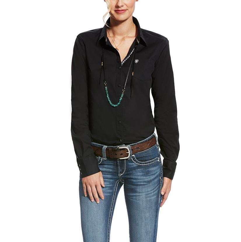 Ariat Womens Kirby Stretch Black Button Down Shirt