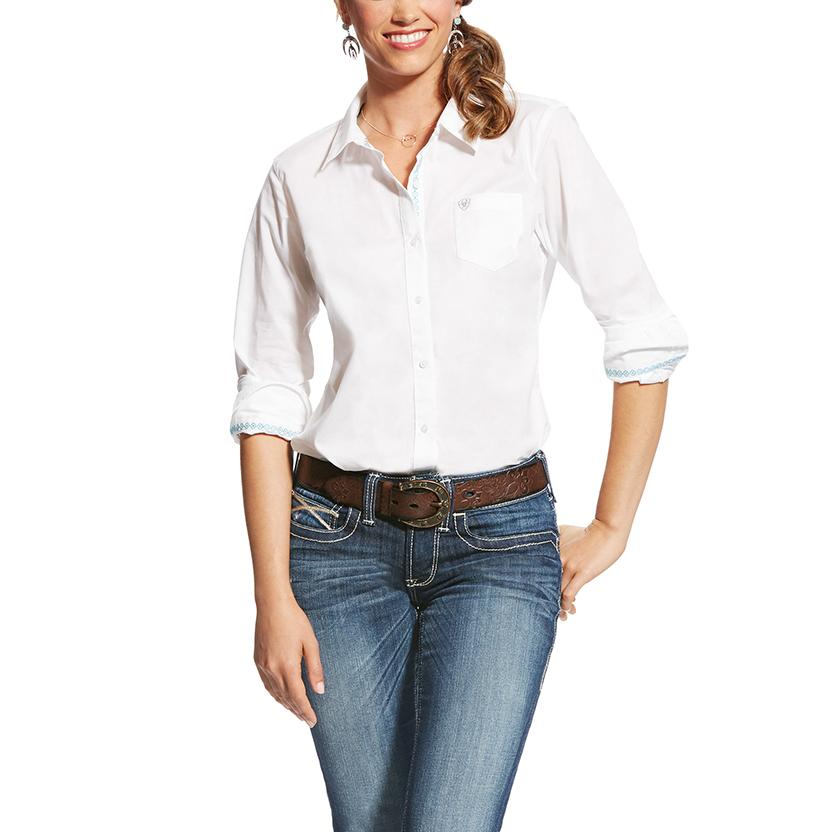 Ariat Womens Kirby Stretch White Button Down Shirt