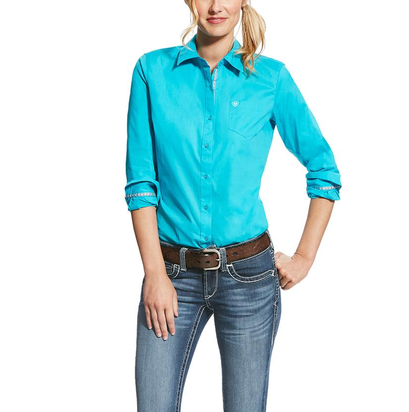 Ariat Womens Kirby Stretch Turquoise Button Down Shirt