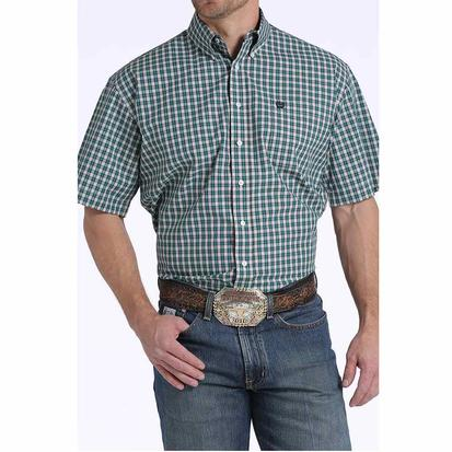 Cinch Men's Turquoise White Red Plaid Short Sleeve Shirt