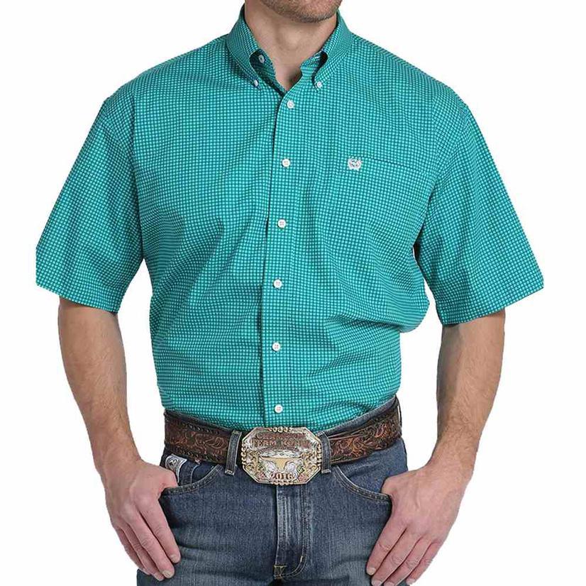 Cinch Mens Turquoise Graphline Print Short Sleeve Shirt