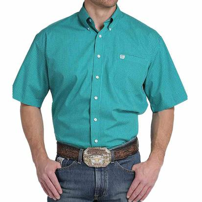 Cinch Mens Turquoise Graphline Print Short Sleeve Shirt