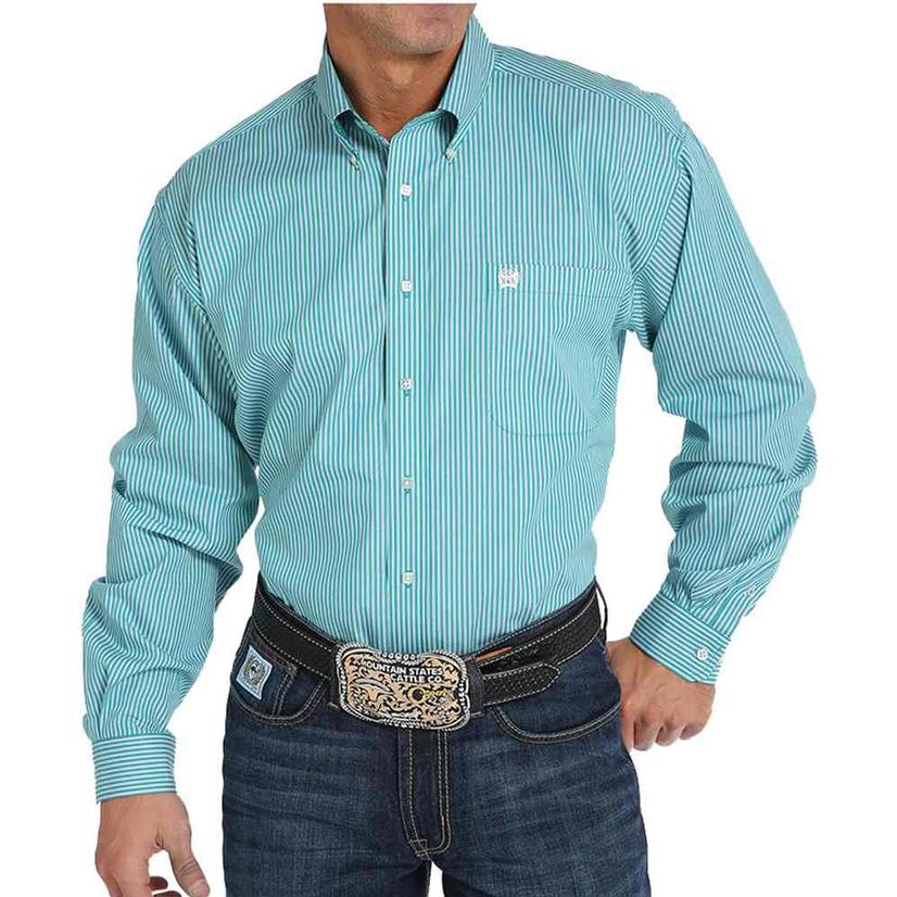 Cinch Turquoise White Striped Mens Longsleeve Shirt