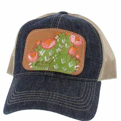 Miranda McIntire Womens Cactus Leather Patch Denim Trucker Cap