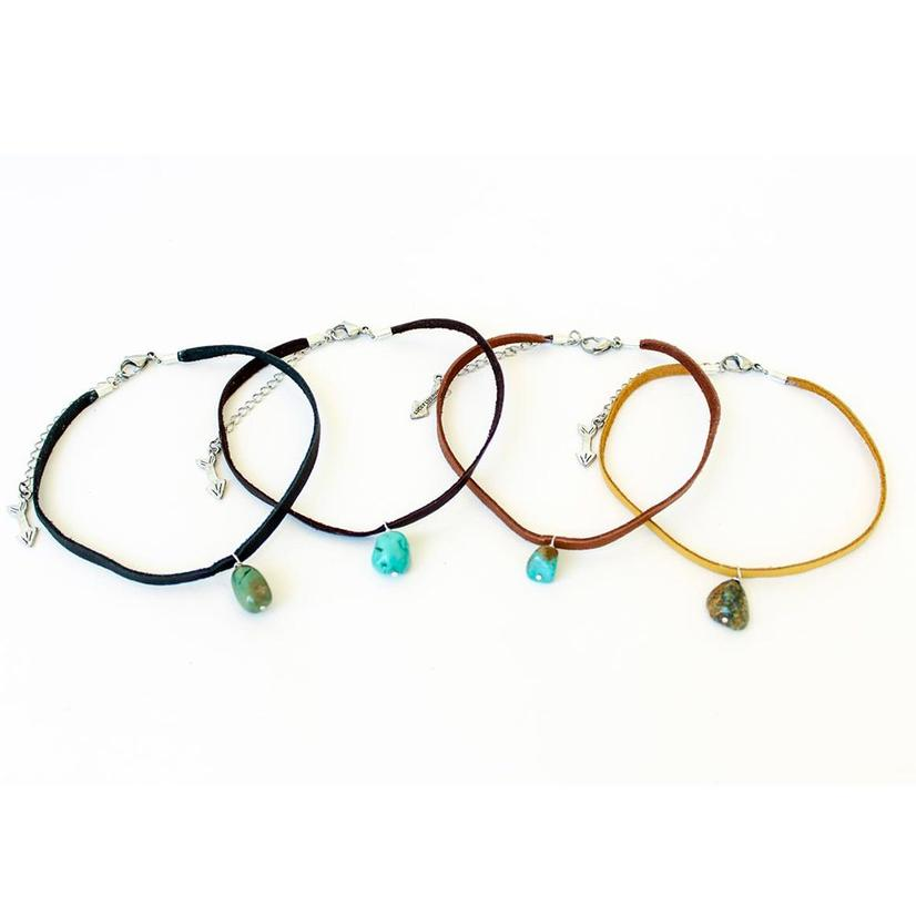 Lucky Lou Turquoise Bead And Leather Choker