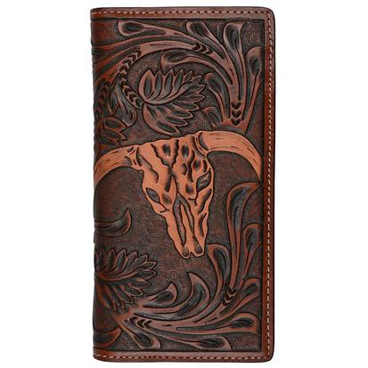3D Mens Tan Western Cow Skull Rodeo Wallet