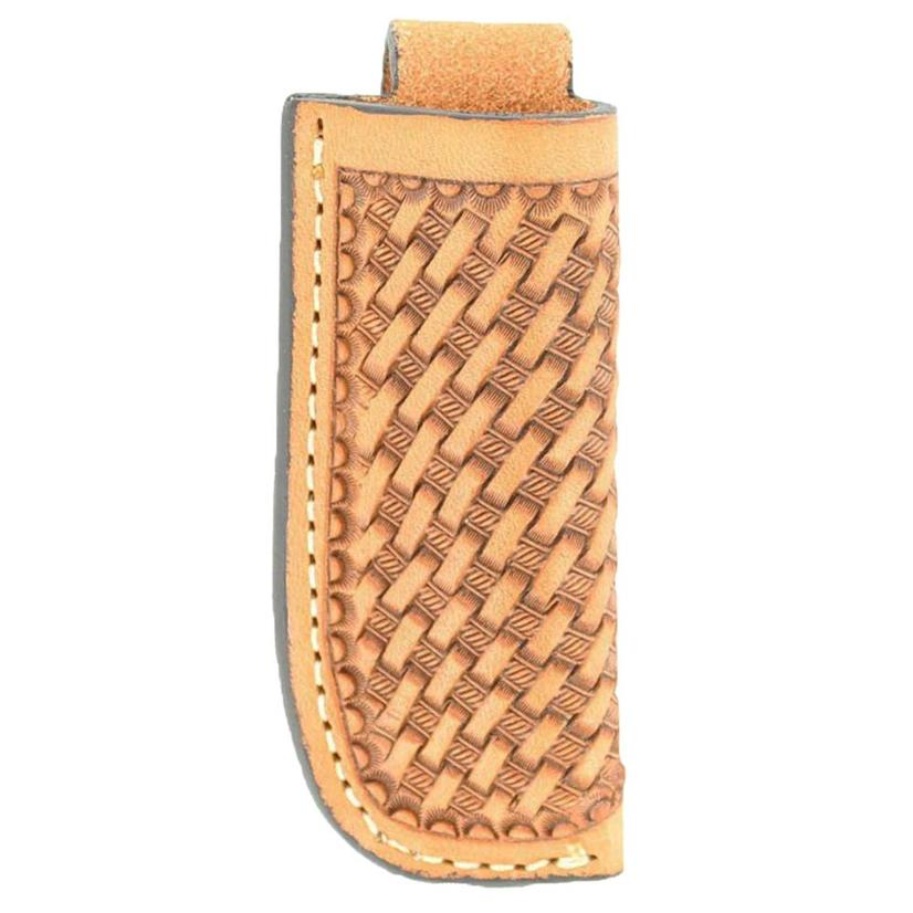 Knife Sheath Basketweave Tooled Leather