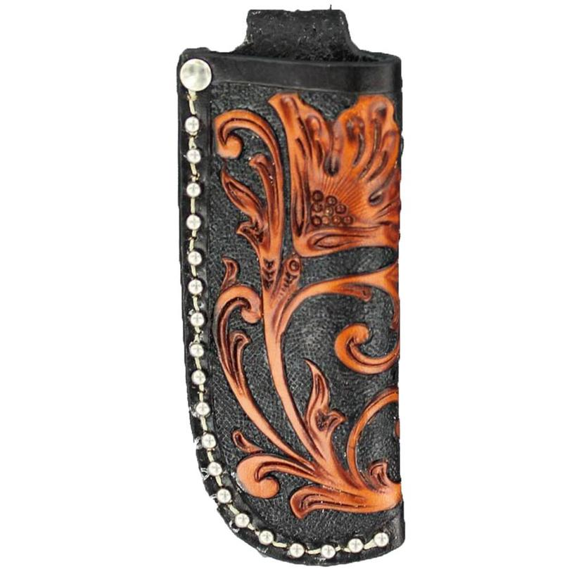 Nocona Floral Tooled Leather Knife Sheath