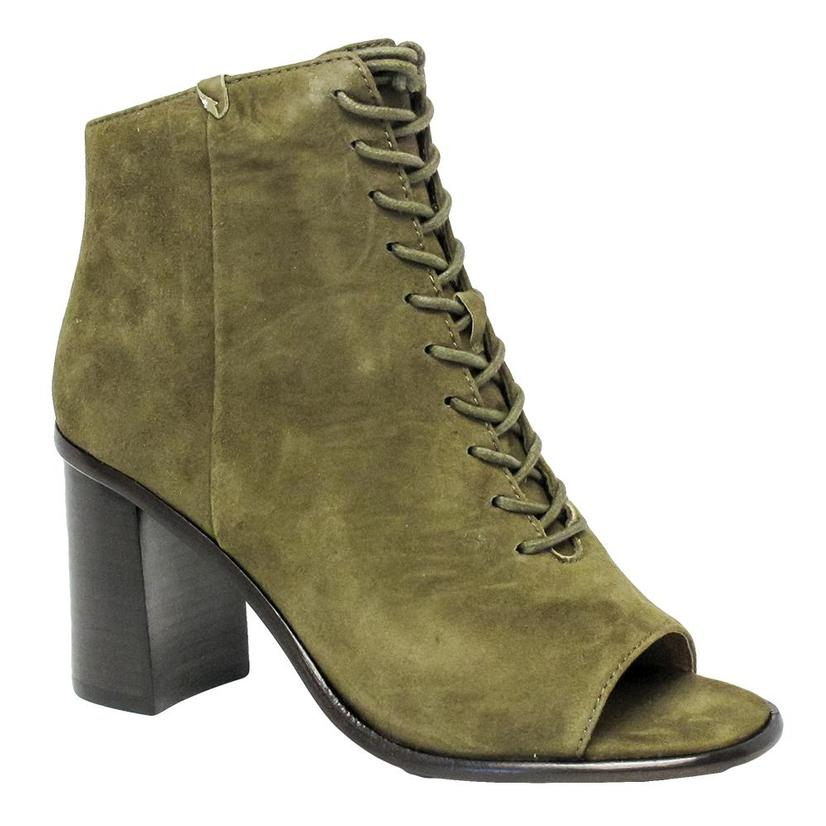 Frye Womens Amy Peep Lace Khaki Green Open Toe Boot